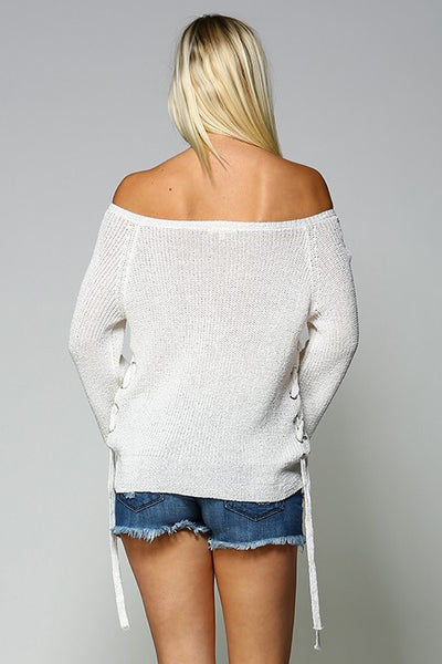 Spring Bloom Lightweight Lace-up Sweater in White