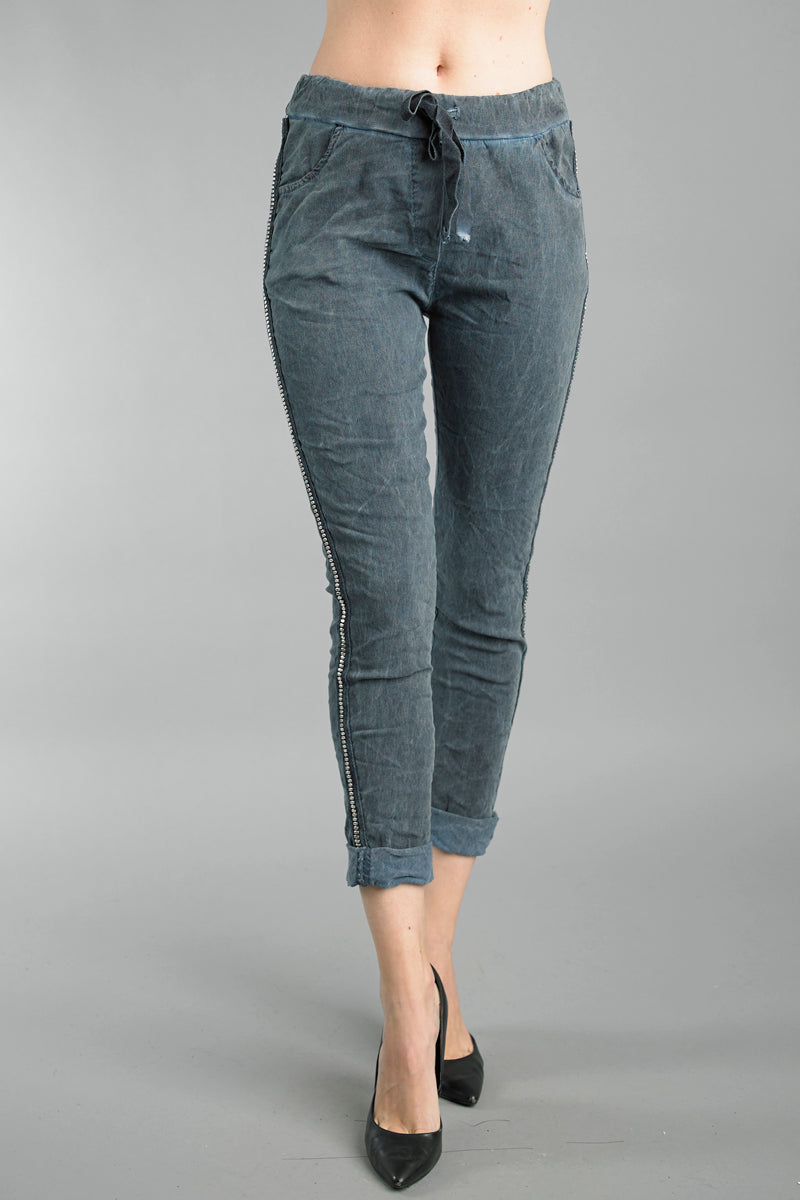 LAST CALL SIZE L | Studded Side Jogger Pants in Denim Blue