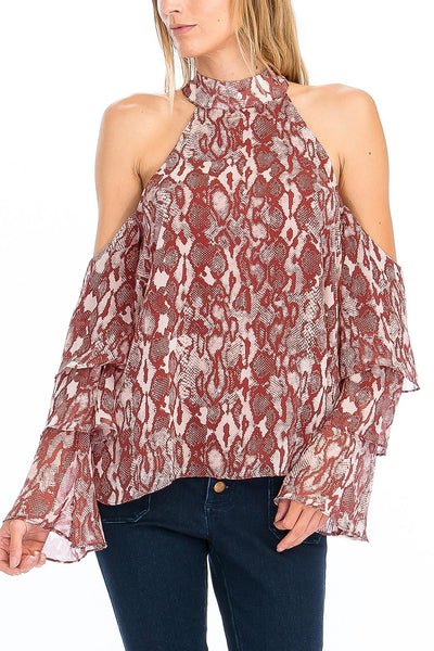 Snake Print Ruffle Sleeve Top in Red