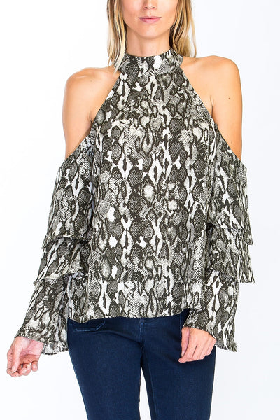 Snake Print Ruffle Sleeve Top in Olive