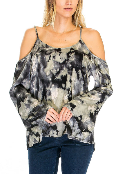 LAST CALL - Size M | Tie Dye Cold Shoulder Bell Sleeve Top