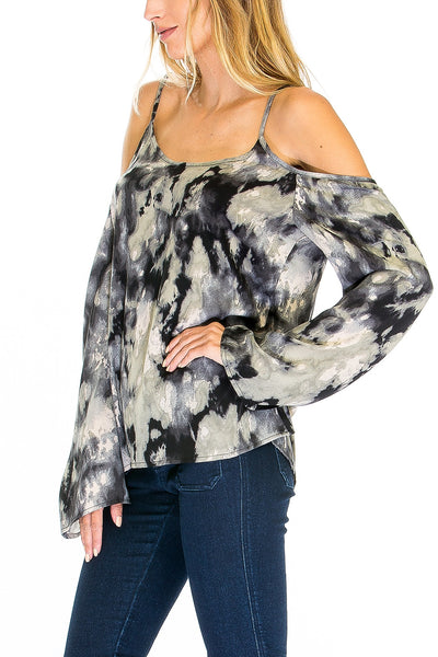 Tie Dye Cold Shoulder Bell Sleeve Top