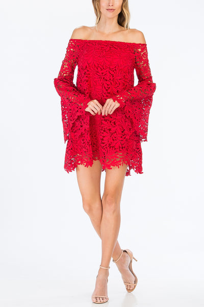 Floral Lace Off Shoulder Tunic Dress in Red