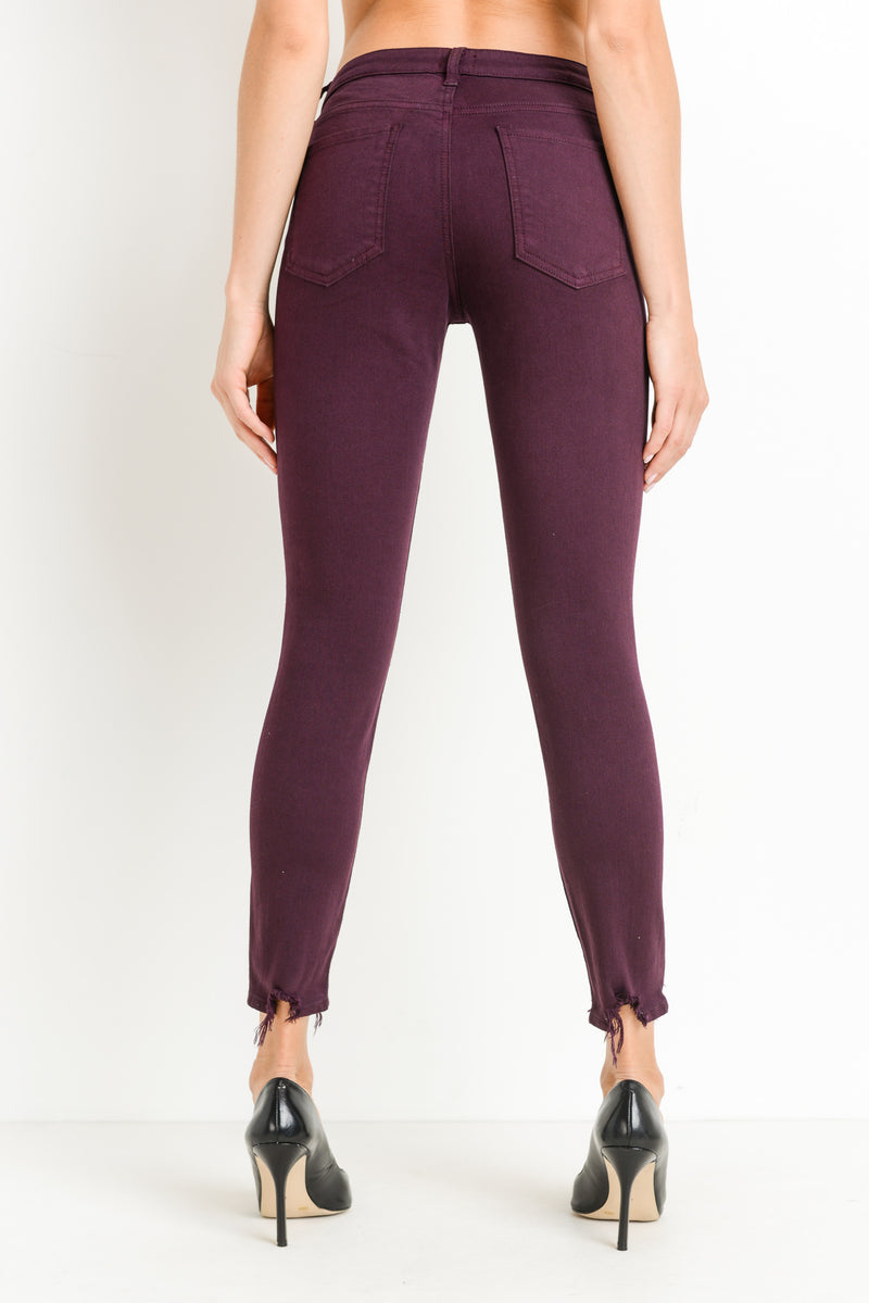 Maroon Skinny Jeans with Distressed Hem Back