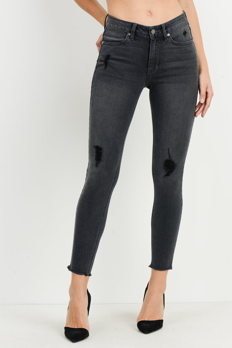 Washed Black Skinny Jeans with Contrast Black Distressing