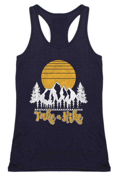 Take A Hike Racer Back Tank in Navy