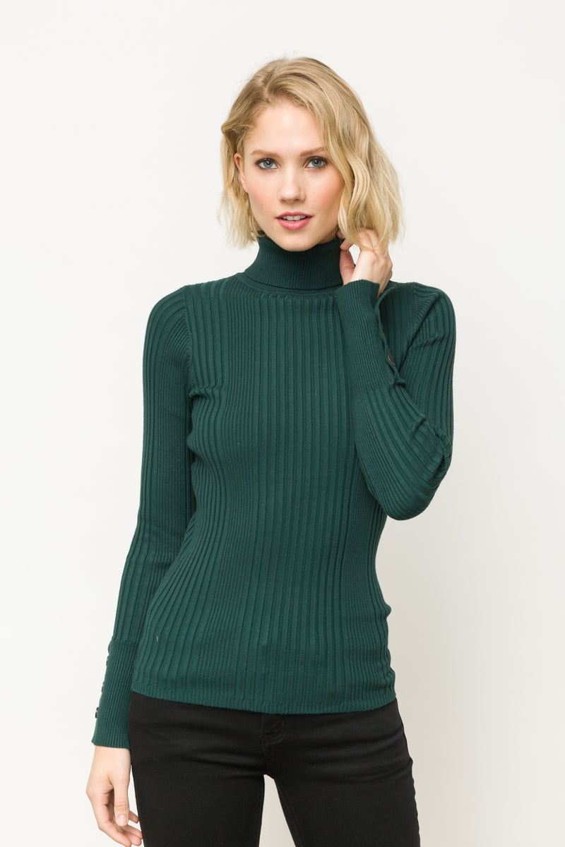 Long Sleeve Ribbed Turtleneck Top with Button Detail