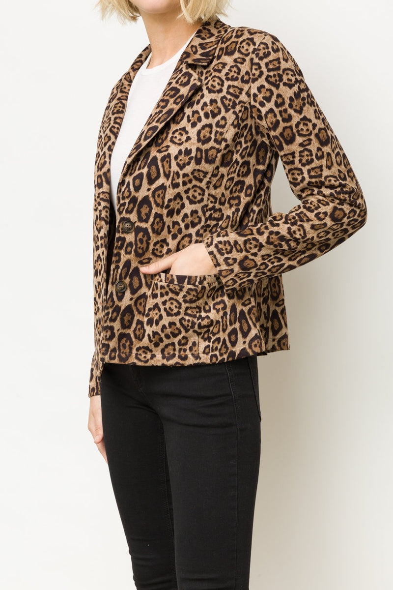 Leopard Print Blazer Side View