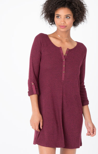 Ribbed Button-Up Tunic Dress in Dark Wine
