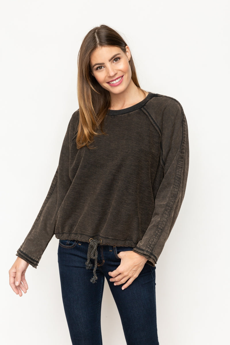 Terry Long Sleeve Top with Drawstring Waist
