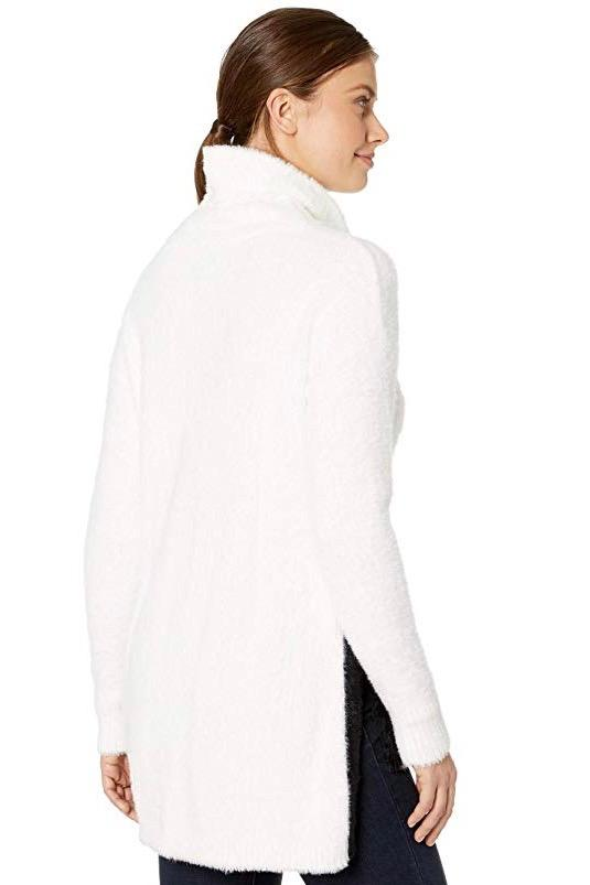 Cozy Faux Mink Sweater with Self Tie in Snow White Back