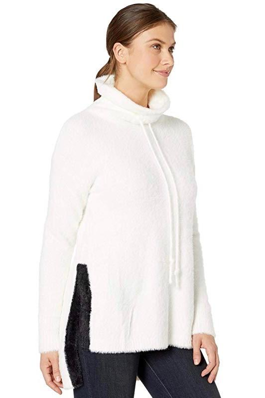 Cozy Faux Mink Sweater with Self Tie in Snow White Side