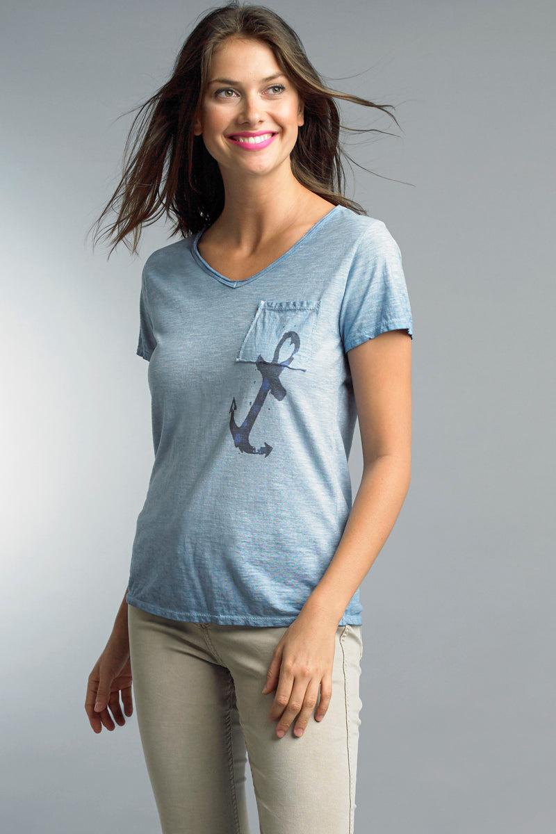 Anchor T-Shirt in Light Blue