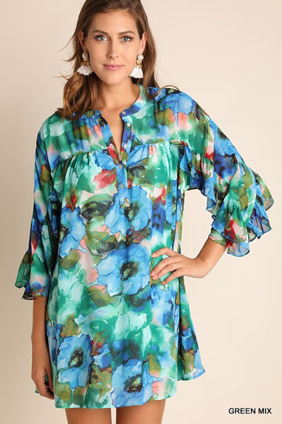 Watercolor Button Up Dress with Ruffle Sleeve in Green