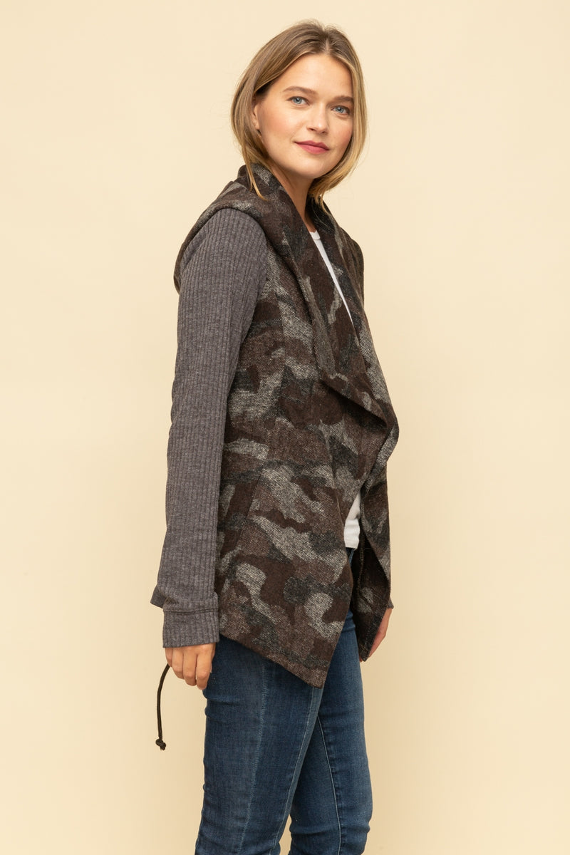 Camo Vest and Ribbed Sleeve Blended Jacket