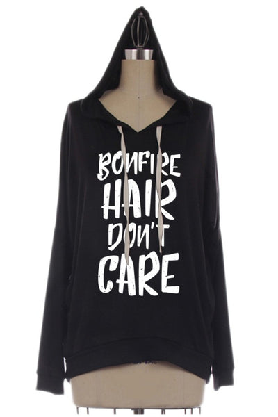 Bonfire Hair Don't Care Hooded Long Sleeve Top Black or Olive
