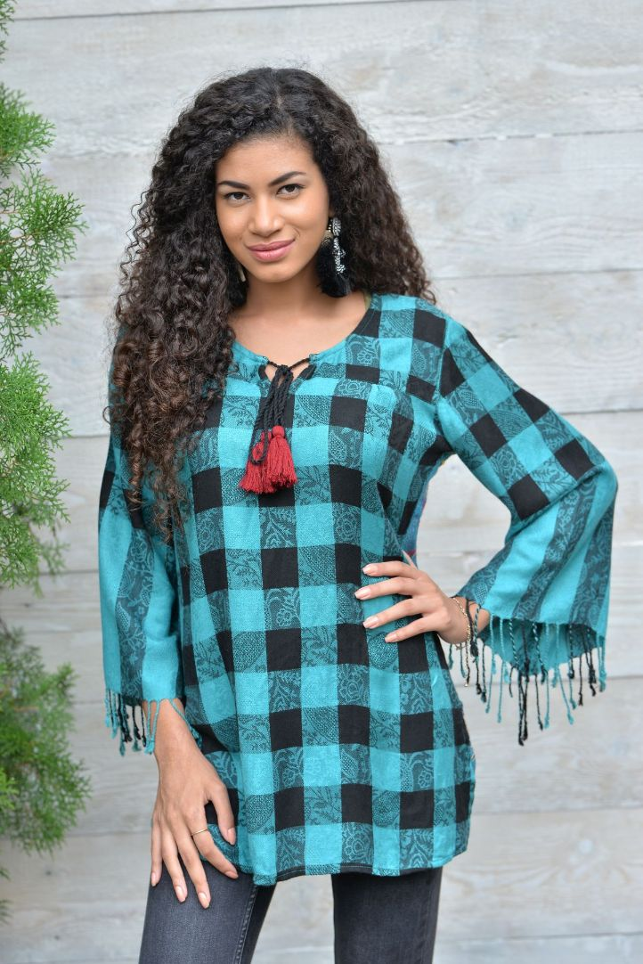Plaid and Paisley Embroidered Tunic