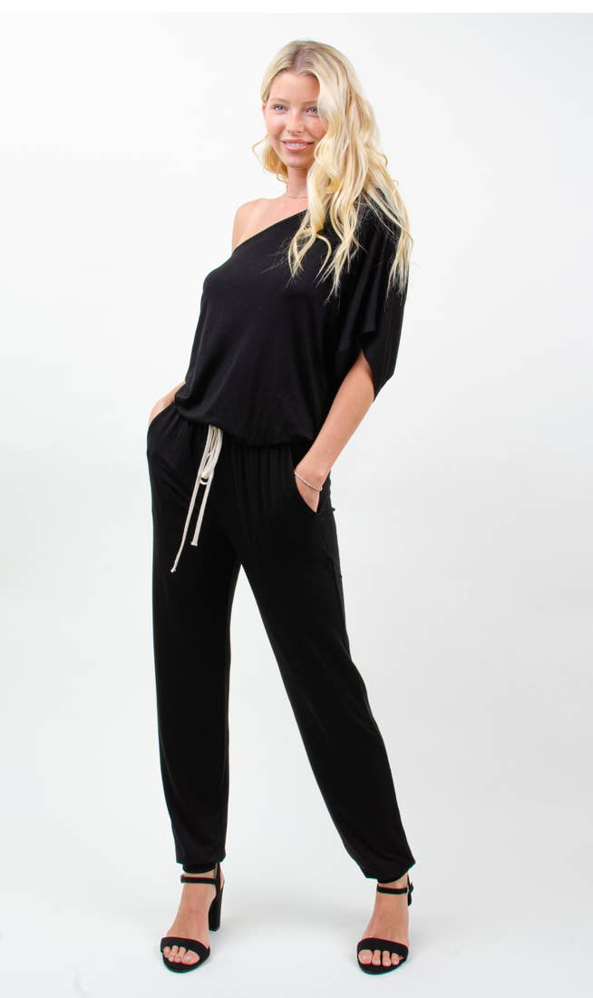 LAST CALL SIZE L | One-Shoulder Jumpsuit - 2 Colors Black and Heather Grey