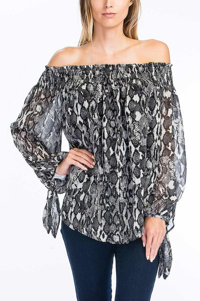 Off Shoulder Snake Print Top