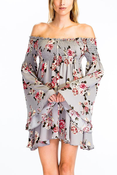 Smocked Off Shoulder Gray Floral Dress