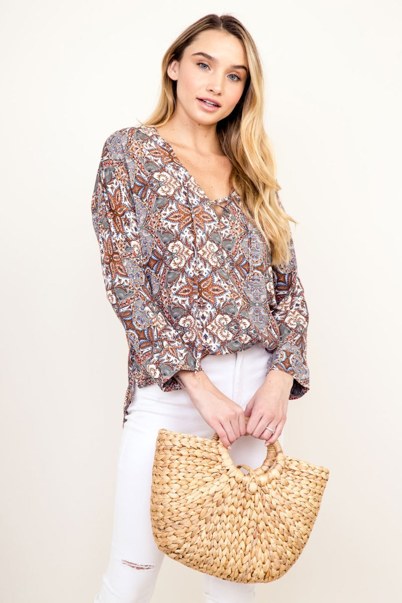 Boho Lace Up Front Top