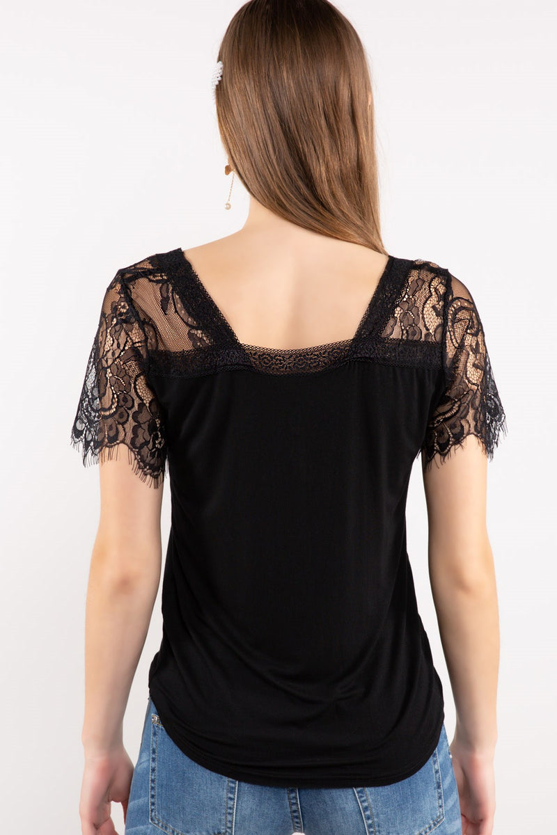 V-Neck Top with Lace Detail Sleeves in Black