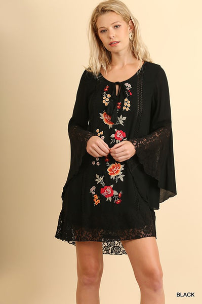 Embroidered Bell Sleeve Tunic with Tassel Tie in Black