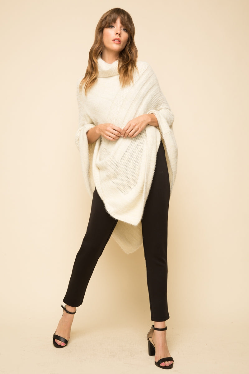 Turtleneck Textured Poncho