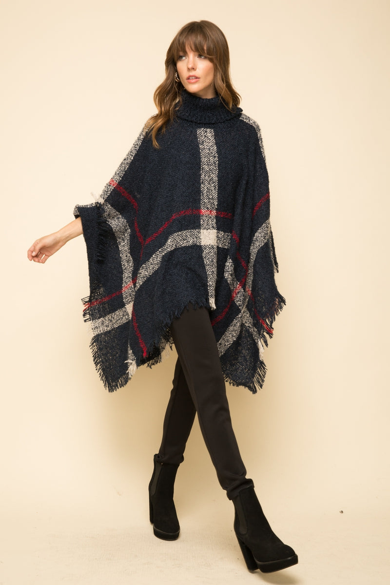 Turtleneck Cape Sweater Poncho