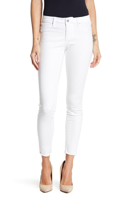 Mid-Rise Skinny Cut Off Hem Jeans in White