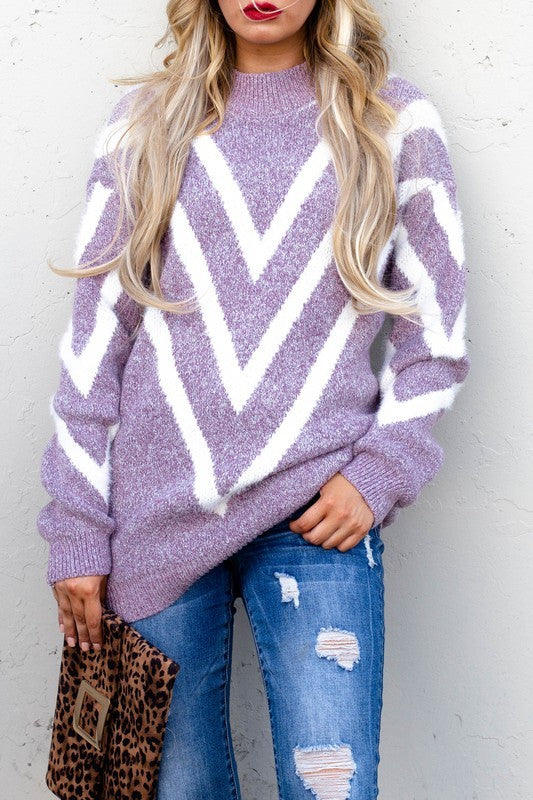 Chevron Printed Sweater Violet