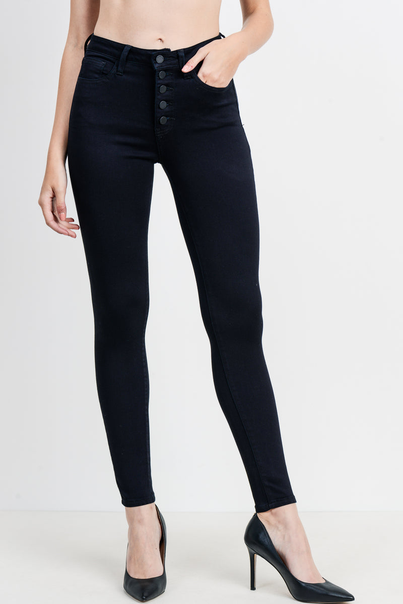 Chic Black Button Down Skinny Jeans