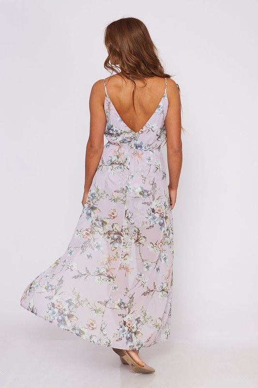 Floral Sleeveless Romper Maxi Dress in Lavender