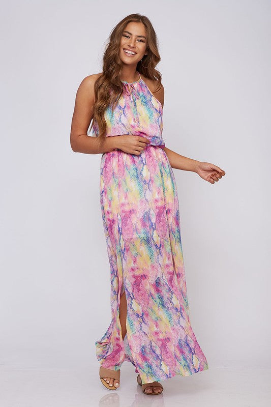 LAST CALL SIZE L | Bright Snake Print Maxi Dress