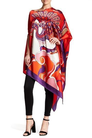 Poncho Long Silk Dress in Red Peacock