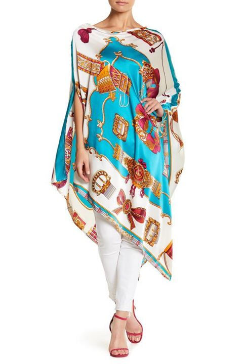 Poncho Long Silk Dress in Ivory/Teal