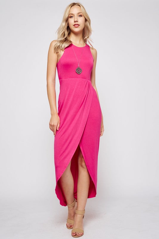 Sleeveless Racerback Maxi Dress in Hot Pink