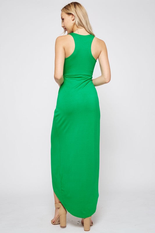 Sleeveless Racerback Maxi Dress in Green Back