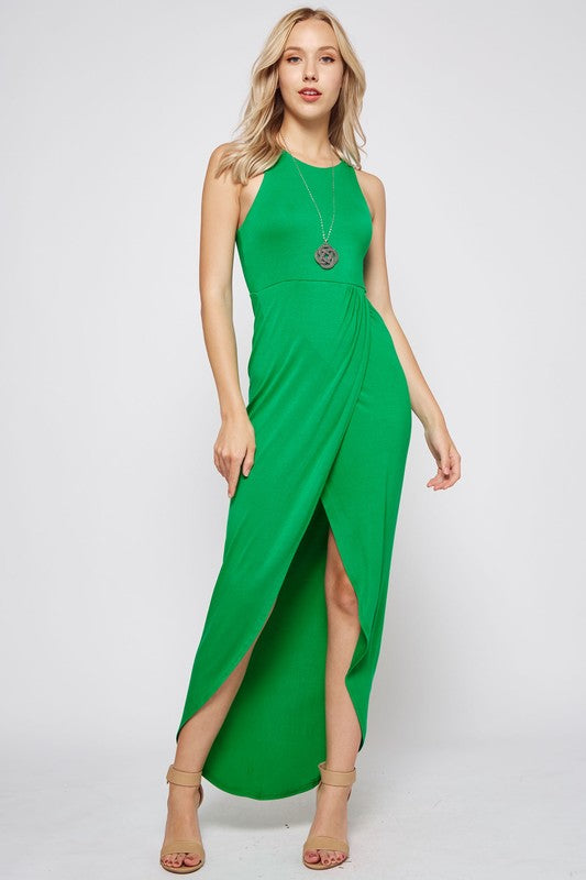 Sleeveless Racerback Maxi Dress in Green