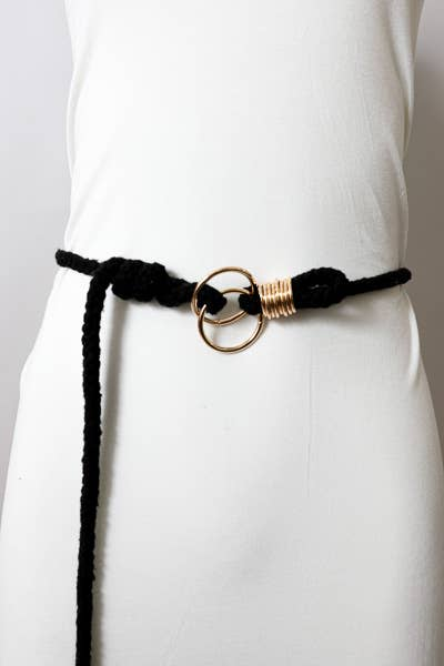 Double Circle Braided Rope Belt in Black