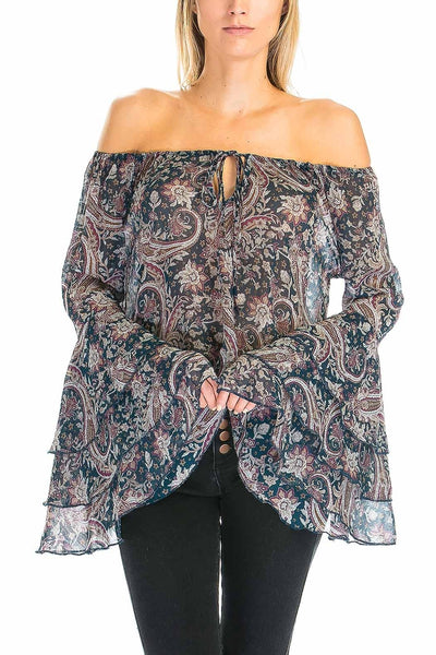 Off Shoulder Paisley Bell Sleeve Top