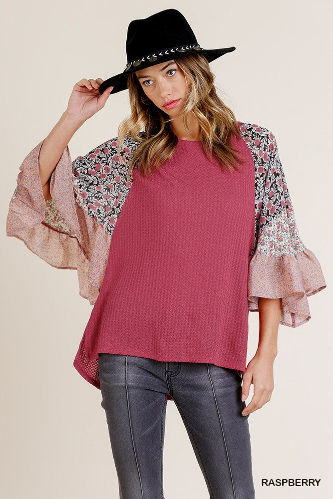 Waffle Knit Floral Bell Sleeve Blouse in Raspberry