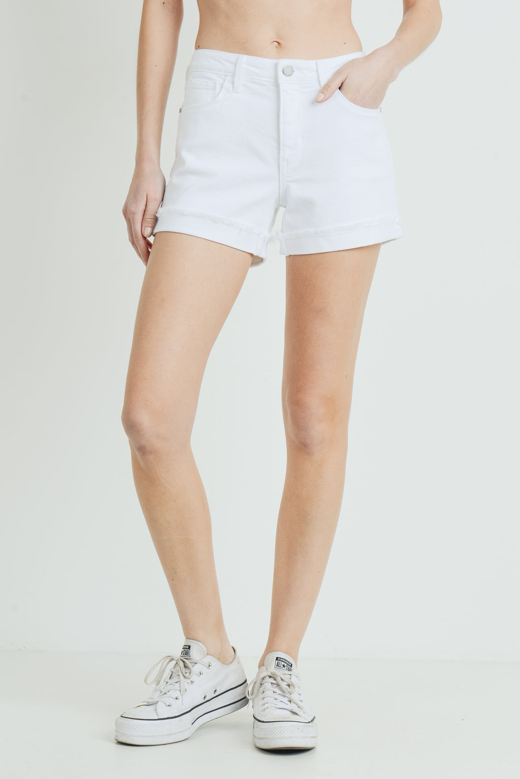 White Cuffed Jean Shorts