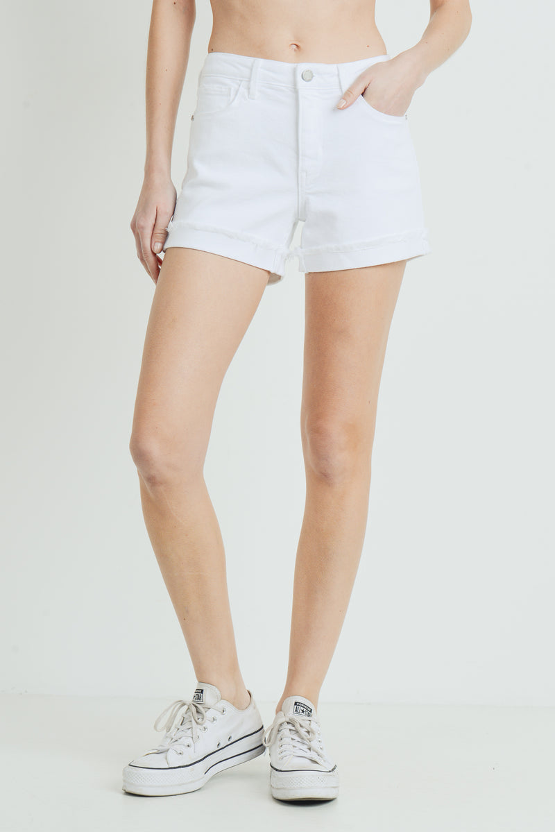 LAST CALL SIZE S | White Cuffed Jean Shorts