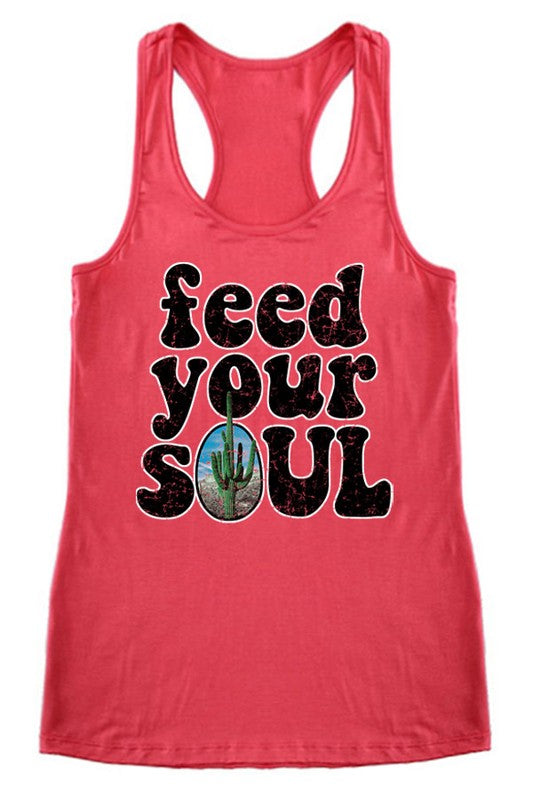 LAST CALL SIZE L | Feed Your Soul Racerback Tank Top in Coral
