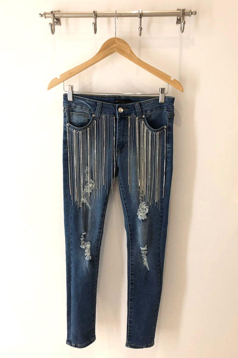 LAST CALL SIZE S | Super Stretch Distressed Skinny Jeans with Silver Crystal Fringe