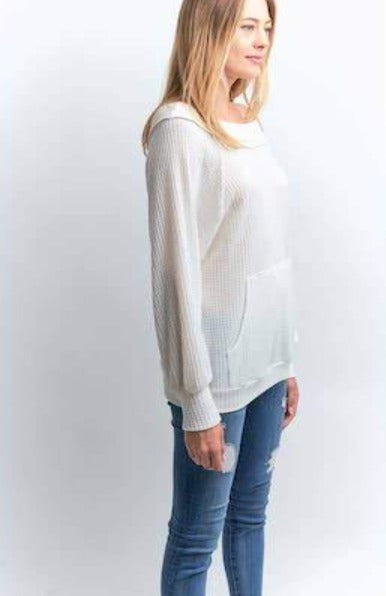 Waffle Knit Top in Ivory