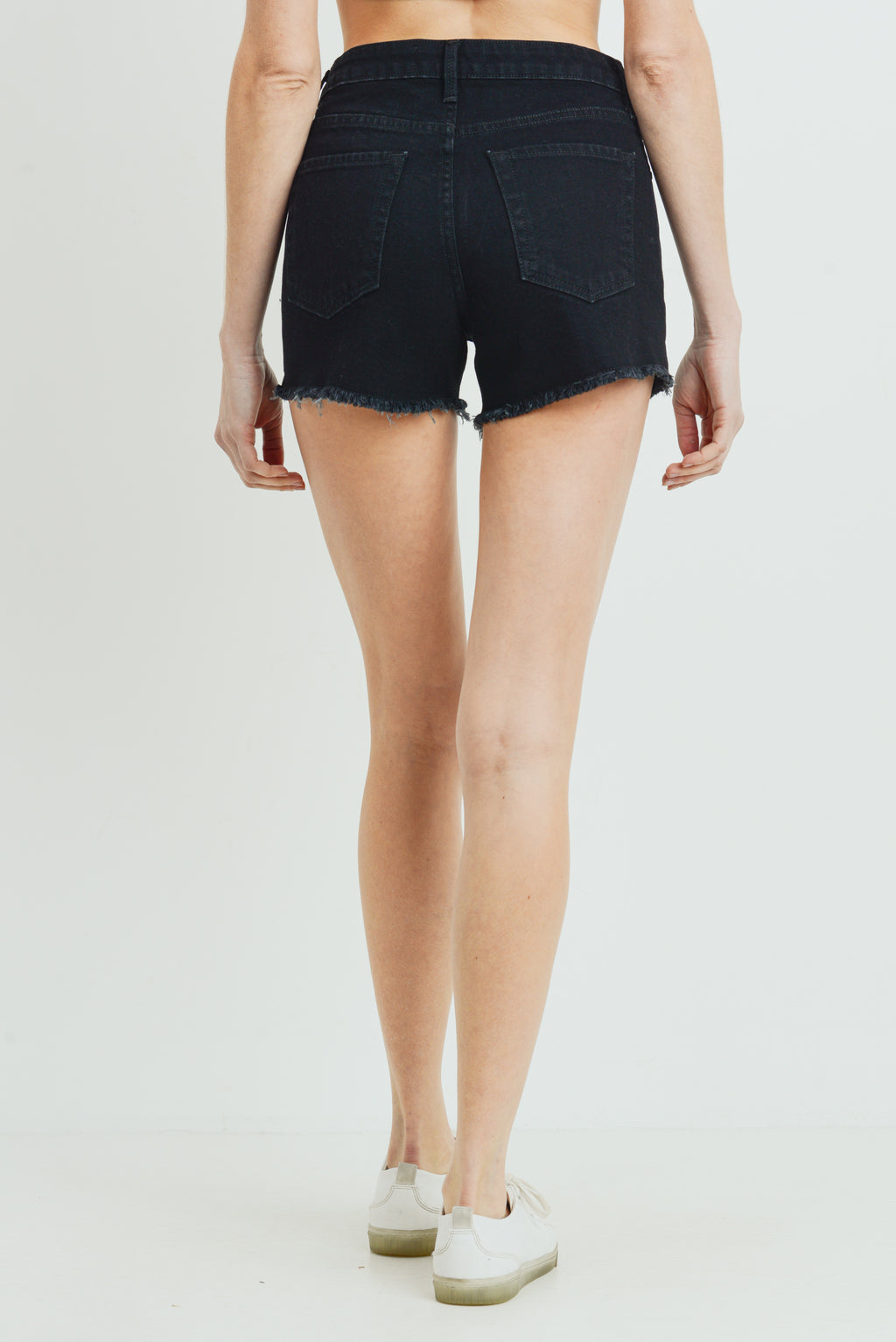 LAST CALL SIZE XS | Black Frayed Hem Jean Shorts with Side Slit