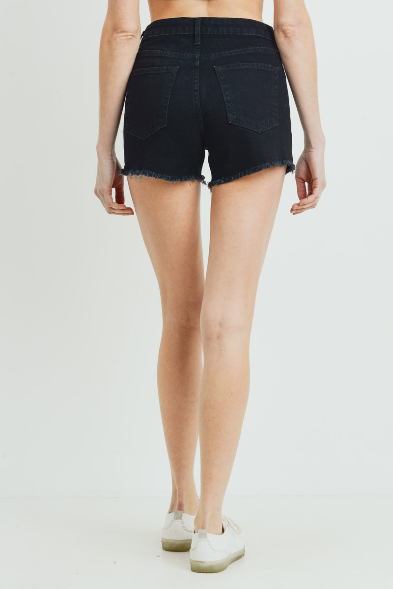 Black Frayed Hem Jean Shorts with Side Slit