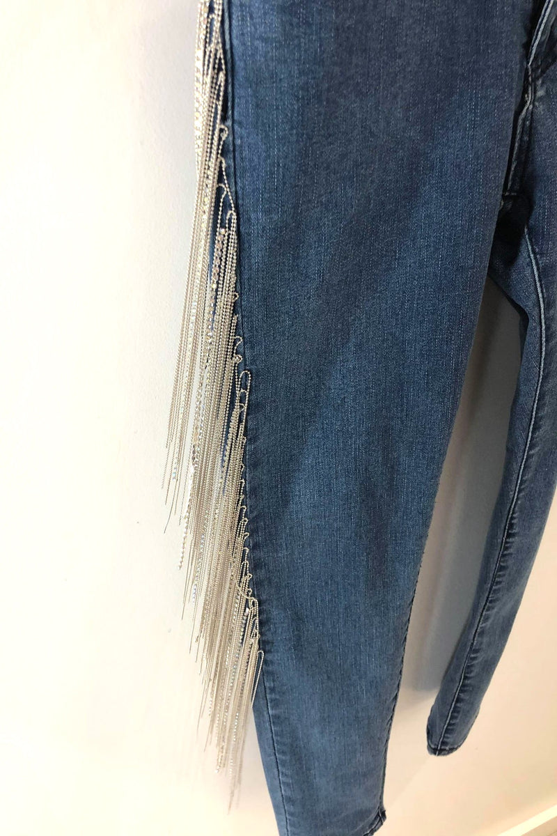 Super Stretch Skinny Jeans with Crystal Fringe Legs